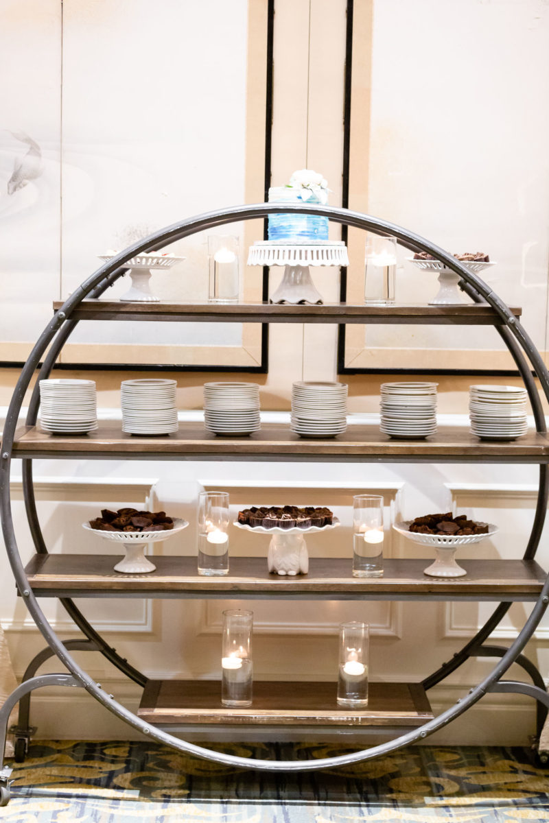 fancy circular, tiered dessert table