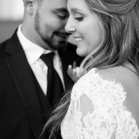 closeup bride and groom, black and white photo