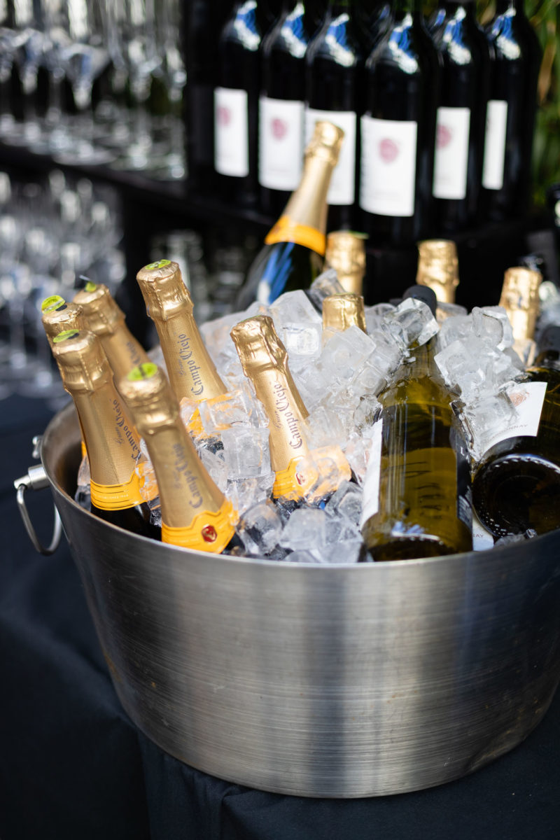 bucket of champagne during wedding reception
